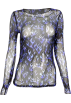 FECLOTHING Long sleeves t-shirts -  Perspective mesh blue flame printed long