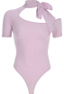 FECLOTHING Overall -  Pink Siamese Top Bow with Irregular Neck