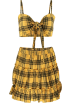 FECLOTHING Dresses -  Plaid Vest Pleated Skirt Set