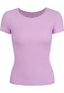 FECLOTHING T-shirts -  Purple Ice Silk Round Neck Short Sleeve