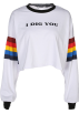 FECLOTHING Long sleeves t-shirts -  Rainbow Stripe Print Long Sleeve Thin Sw