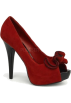 Pin Up Couture Sandals -  Red Faux Suede Sexy Peep Toe Platform Pump - 7