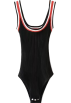 FECLOTHING Overall -  Retro Color Striped Strap Knit Bodysuit