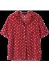 FECLOTHING Belt -  Retro red wave short-sleeved shirt