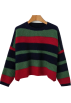 FECLOTHING Pullovers -  Retro wild loose striped colorblock pull
