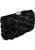 MG Collection Hand bag -  Romantic Rose Rosette Sheer Satin Hard Case Baguette Evening Clutch Purse w/Detachable Chain Black