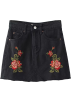 FECLOTHING Skirts -  Rose Embroidered Denim Skirt
