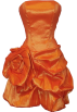 PacificPlex Dresses -  Rosette Taffeta Strapless Mini Dress Prom Party Formal Gown Orange