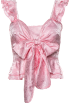 FECLOTHING T-shirts -  Ruffled bow V-neck shirt