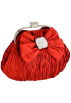 MG Collection Clutch bags -  Satin Bow Pleated Rhinestones Brooch & Clasp Frame Baguette Clutch Evening Bag Handbag Purse w/2 Hidden Chains Red
