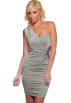 Hot from Hollywood Dresses -  Sexy Draped One Shoulder Ruched Cocktail Mini Dress