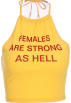 FECLOTHING T-shirts -  Small yellow letter halter top with stra