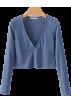 FECLOTHING T-shirts -  Solid color knit V-neck long sleeve bott