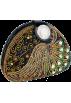 MG Collection Clutch bags -  Sophisticated Half-moon Handmade Seed Beaded Emerald Gems Rhinestone Closure Hard Case Clutch Evening Handbag Purse w/Hidden Chain