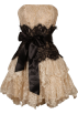 PacificPlex Dresses -  Strapless Bustier Contrast Lace and Crinoline Ruffle Prom Mini Dress Junior Plus Size Taupe/Black