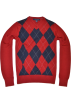 Tommy Hilfiger Pullovers -  TOMMY HILFIGER Mens Argyle V-Neck Plaid Knit Sweater Red/navy/gray