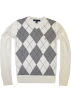 Tommy Hilfiger Pullovers -  TOMMY HILFIGER Mens Argyle V-Neck Plaid Knit Sweater White/Grey/Navy