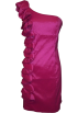 PacificPlex Dresses -  Taffeta Side Ruffle Knee-length Dress Fuchsia