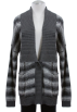 Tommy Hilfiger Cardigan -  Tommy Hilfiger Gray Striped Cotton Ribbed Shawl Collar Cardigan Sweater