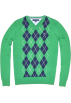 Tommy Hilfiger Pullovers -  Tommy Hilfiger Men Logo Argyle V-neck Sweater Pullover Green/Navy
