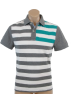 Tommy Hilfiger T-shirts -  Tommy Hilfiger Men Logo Striped Polo T-shirt Grey/White/Green
