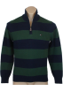 Tommy Hilfiger Pullovers -  Tommy Hilfiger Mens 1/4 Zip Striped Cardigan Logo Sweater Green/Navy