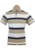 Tommy Hilfiger Shirts -  Tommy Hilfiger Mens Classic Fit Short Sleeve Striped Logo Polo Shirt Beige/White/Navy