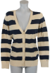 Tommy Hilfiger Cardigan -  Tommy Hilfiger Women Logo Striped Cardigan Sweater Beige/Black