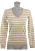 Tommy Hilfiger Pullovers -  Tommy Hilfiger Women Logo V-Neck Striped Pullover Sweater Beige/White