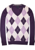 Tommy Hilfiger Pullovers -  Tommy Hilfiger Women Logo V-Neck Sweater Pullover Dark purple/light purple/pink