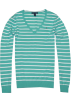 Tommy Hilfiger Pullovers -  Tommy Hilfiger Women V-neck Striped Logo Sweater Pullover Caribbean green/white