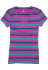 Tommy Hilfiger T-shirts -  Tommy Hilfiger Women V-neck Striped T-shirt Magenta/teal/deep green