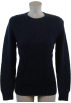 Tommy Hilfiger Pullovers -  Tommy Hilfiger Womens Cable Knit Striped Cotton Logo Sweater Navy