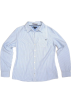 Tommy Hilfiger Long sleeves shirts -  Tommy Hilfiger Womens V-neck Collared Dress Shirt in Light Blue and White Pinstripes (Ladies)