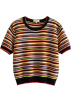FECLOTHING Shirts -  Vintage color striped short sleeve loose