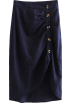 FECLOTHING Skirts -  Vintage pleated button irregular high wa