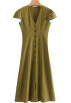 FECLOTHING Dresses -  V-neck A Linen Maxi Dress