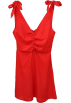 FECLOTHING Dresses -  V-neck backless fold cotton and linen dr