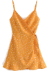 FECLOTHING Dresses -  V-neck high waist tie with polka dot chi