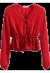 FECLOTHING Long sleeves shirts -  V-neck lace stitching drawstring tie wit
