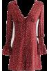 FECLOTHING Dresses -  V-neck long-sleeved red wave single-brea