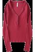 FECLOTHING Long sleeves shirts -  V-neck ribbed elastic bottoming shirt