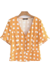 FECLOTHING Shirts -  V-neck single-breasted wave trumpet slee