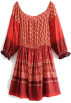 FECLOTHING Vestidos -  Waist-bohemian printed one-shoulder long