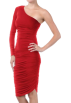 Hot from Hollywood Dresses -  Women's Designer Stretch One-Sleeve Fitted Ruffled Cocktail Mini Dress Red Scarlet