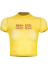 FECLOTHING Shirts -  Yellow letter openwork mesh top
