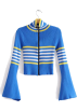 FECLOTHING Cardigan -  flared sleeve slim short knit cardigan