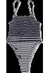 FECLOTHING Overall -  stripes adjustable strap Bodysuit